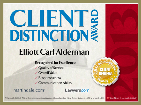 client reviews martindale best lawyers excellence award for elliott alderman